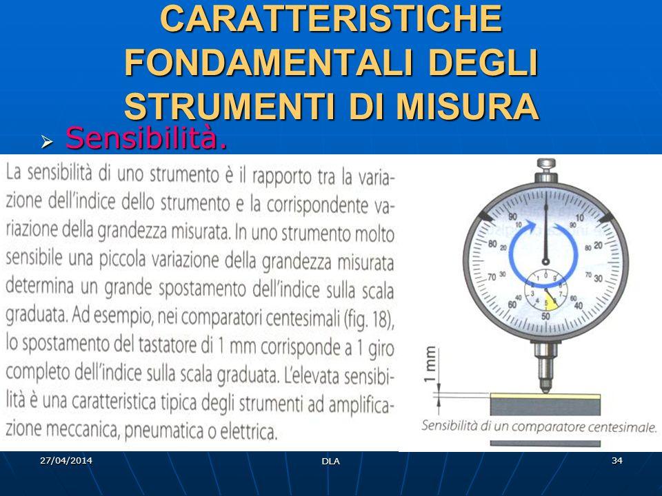 27/04/2014 DLA 34 CARATTERISTICHE FONDAMENTALI DEGLI STRUMENTI DI MISURA Sensibilità. Sensibilità.