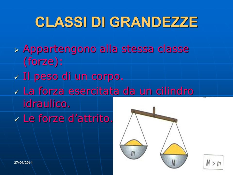 27/04/2014 DLA 4 CLASSI DI GRANDEZZE Appartengono alla stessa classe (forze): Appartengono alla stessa classe (forze): Il peso di un corpo. Il peso di