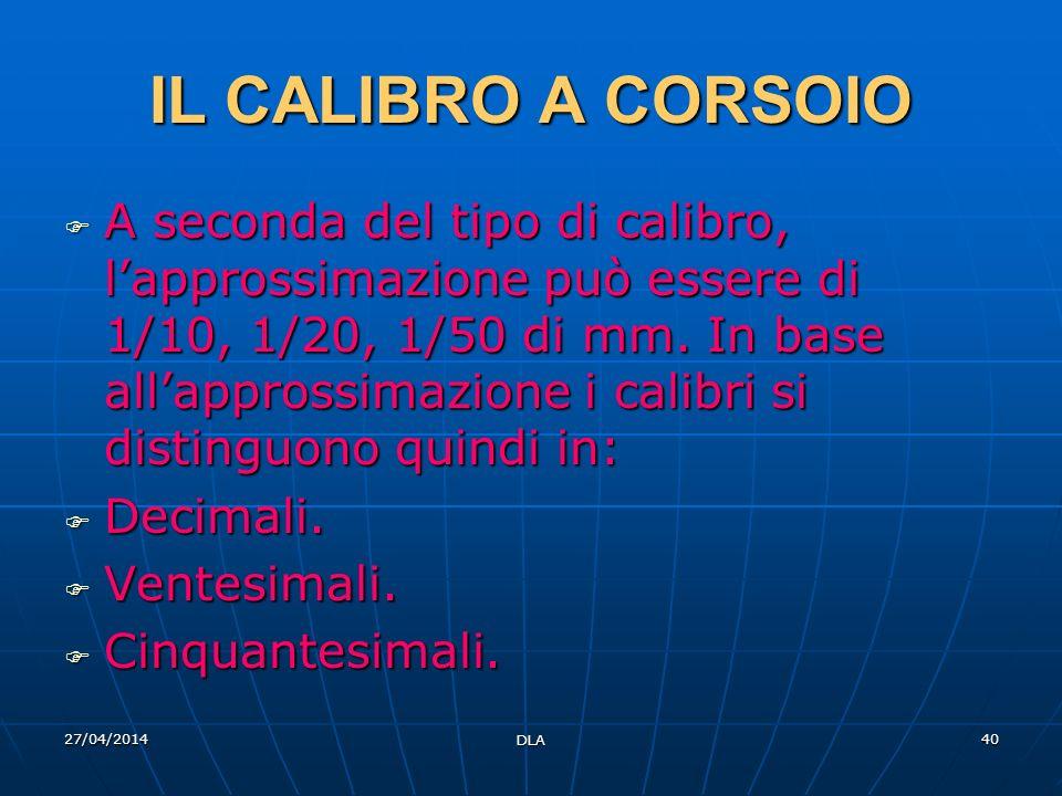27/04/2014 DLA 40 IL CALIBRO A CORSOIO A seconda del tipo di calibro, lapprossimazione può essere di 1/10, 1/20, 1/50 di mm. In base allapprossimazion