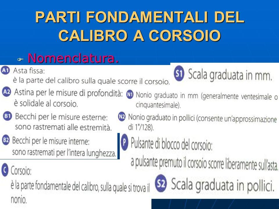 27/04/2014 DLA 43 PARTI FONDAMENTALI DEL CALIBRO A CORSOIO Nomenclatura. Nomenclatura.