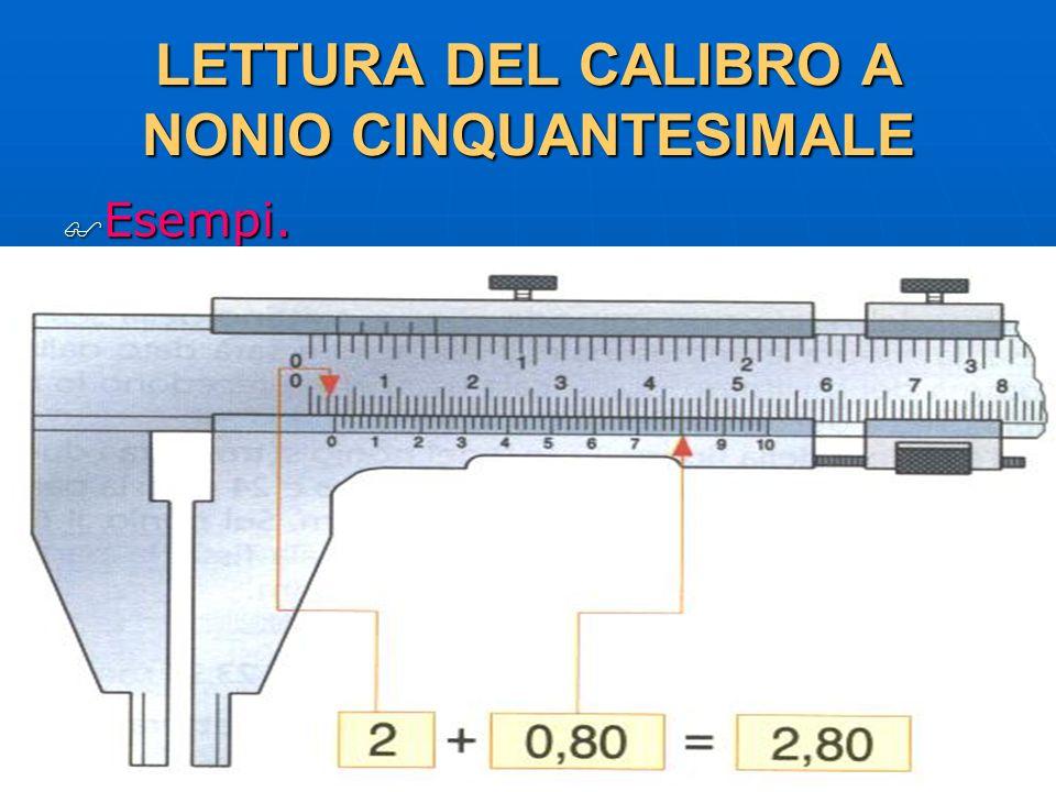 27/04/2014 DLA 53 LETTURA DEL CALIBRO A NONIO CINQUANTESIMALE Esempi. Esempi.