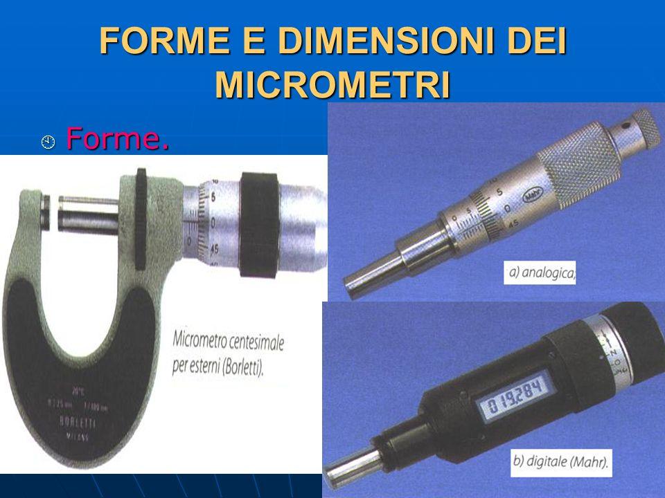 27/04/2014 DLA 58 FORME E DIMENSIONI DEI MICROMETRI Forme. Forme.