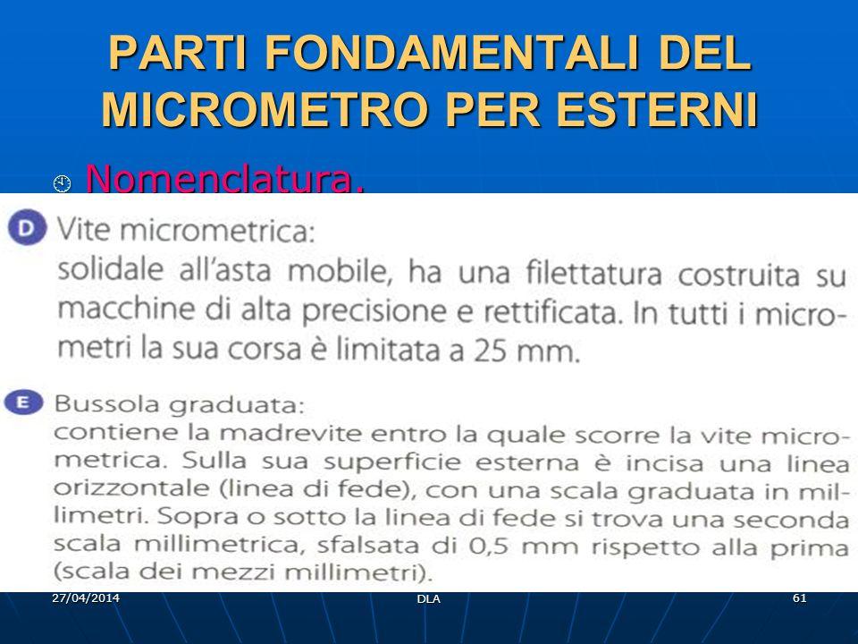 27/04/2014 DLA 61 PARTI FONDAMENTALI DEL MICROMETRO PER ESTERNI Nomenclatura. Nomenclatura.