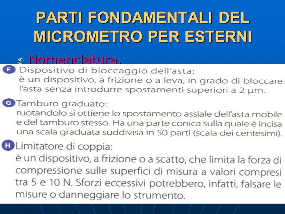 27/04/2014 DLA 62 PARTI FONDAMENTALI DEL MICROMETRO PER ESTERNI Nomenclatura. Nomenclatura.