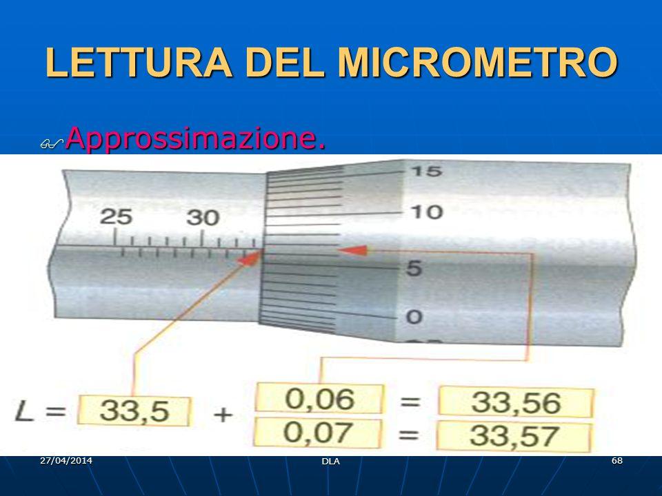 27/04/2014 DLA 68 LETTURA DEL MICROMETRO Approssimazione. Approssimazione.