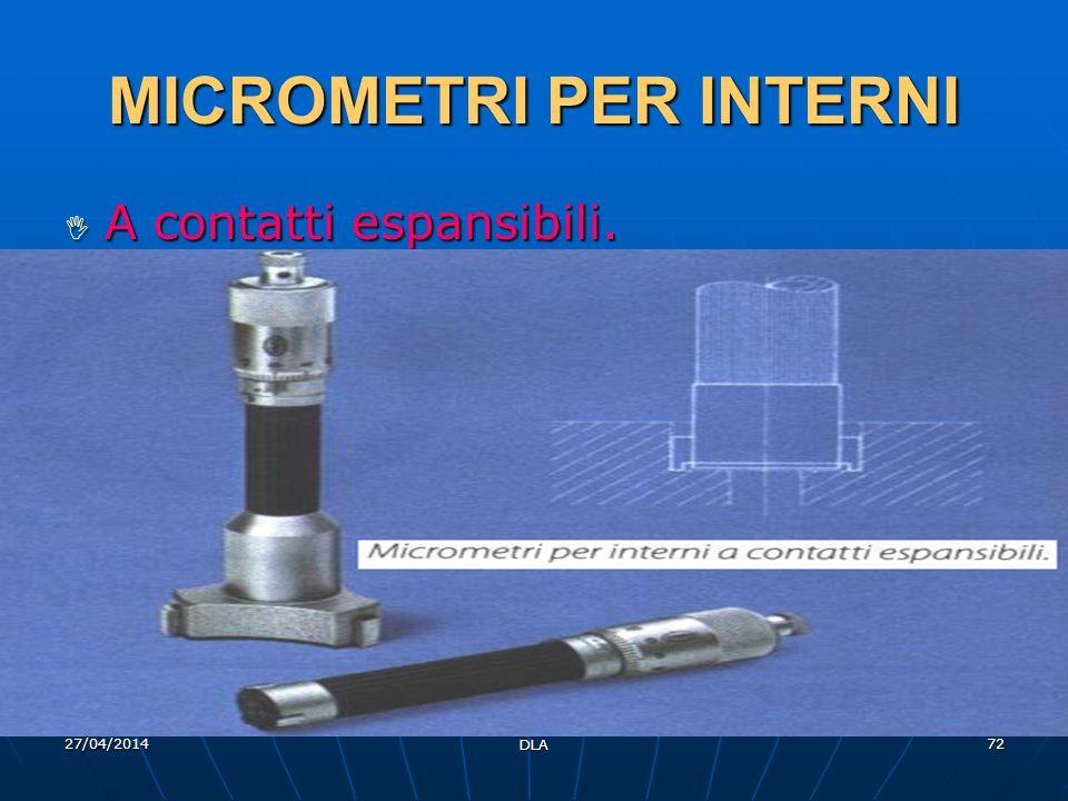 27/04/2014 DLA 72 MICROMETRI PER INTERNI A contatti espansibili. A contatti espansibili.
