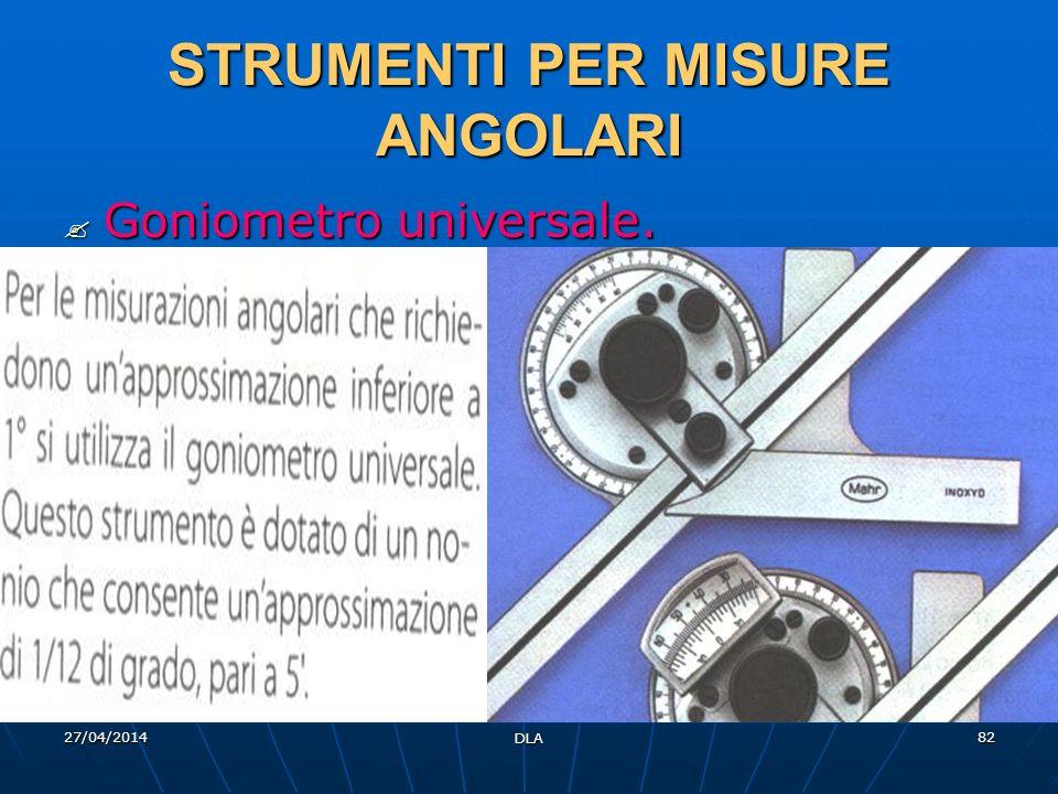 27/04/2014 DLA 82 STRUMENTI PER MISURE ANGOLARI Goniometro universale. Goniometro universale.