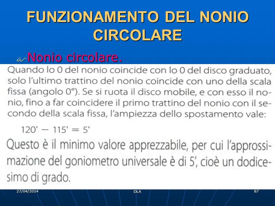 27/04/2014 DLA 87 FUNZIONAMENTO DEL NONIO CIRCOLARE Nonio circolare. Nonio circolare.