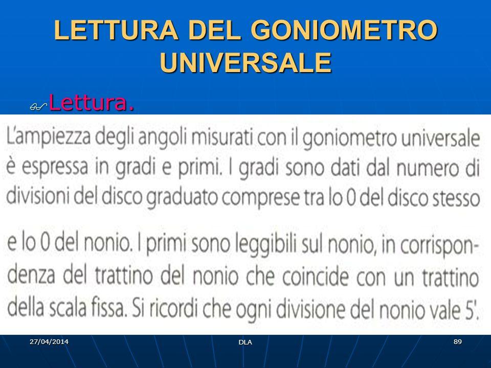 27/04/2014 DLA 89 LETTURA DEL GONIOMETRO UNIVERSALE Lettura. Lettura.