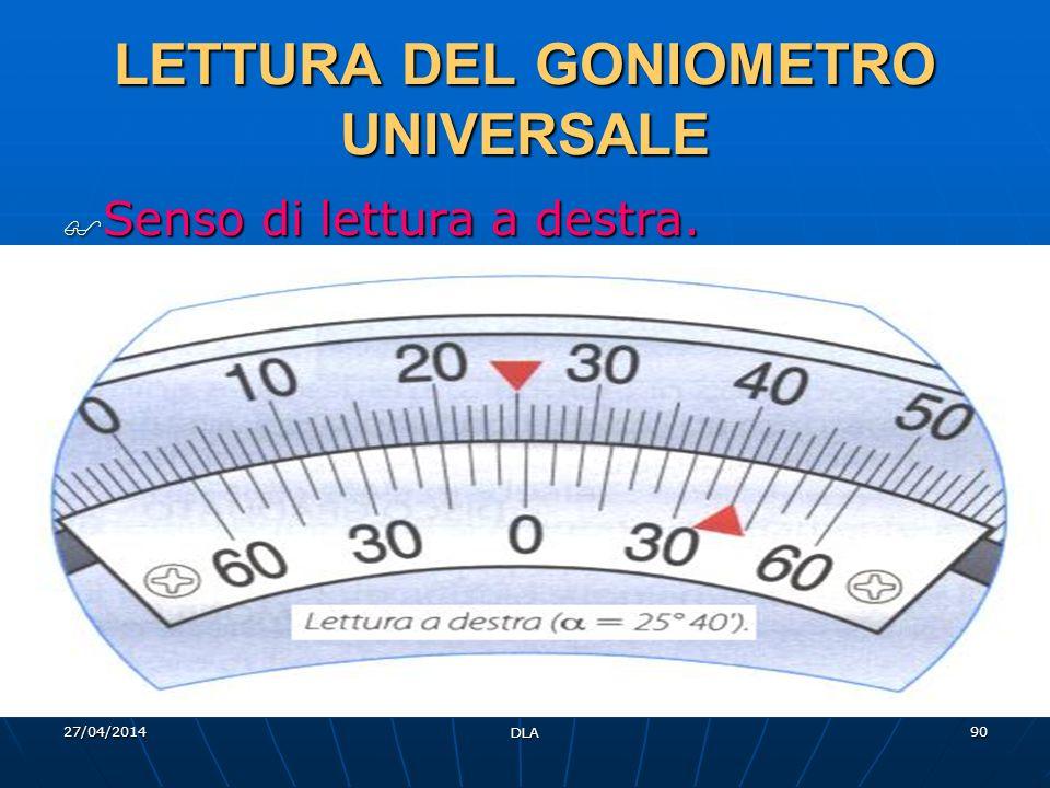 27/04/2014 DLA 90 LETTURA DEL GONIOMETRO UNIVERSALE Senso di lettura a destra. Senso di lettura a destra.