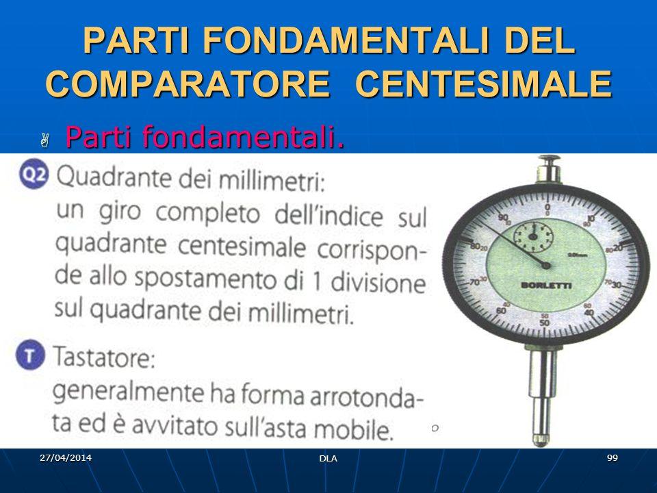 27/04/2014 DLA 99 PARTI FONDAMENTALI DEL COMPARATORE CENTESIMALE Parti fondamentali. Parti fondamentali.