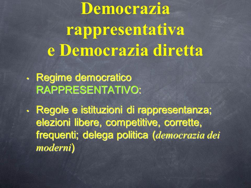 Democrazia rappresentativa e Democrazia diretta Regime democratico RAPPRESENTATIVO: Regime democratico RAPPRESENTATIVO: Regole e istituzioni di rappre