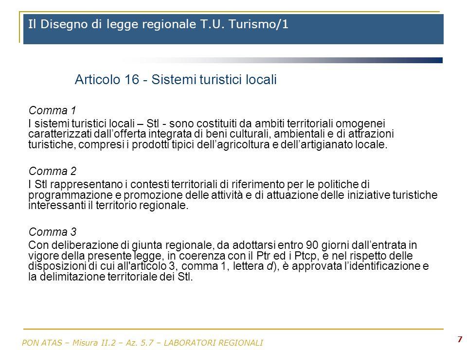 PON ATAS – Misura II.2 – Az.5.7 – LABORATORI REGIONALI 7 Il Disegno di legge regionale T.U.