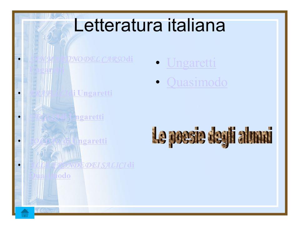 Letteratura italiana SAN MARTINO DEL CARSO di Ungaretti SAN MARTINO DEL CARSO di Ungaretti FRATELLI di Ungaretti FRATELLI di Ungaretti VEGLIA di Ungar