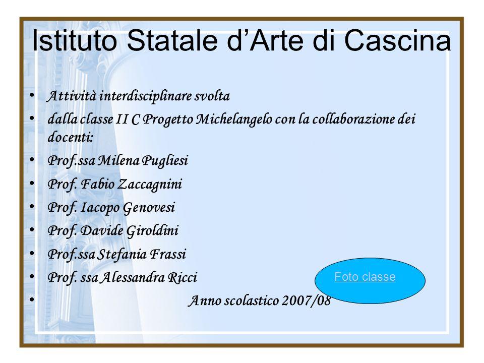 Istituto Statale dArte di Cascina Attività interdisciplinare svolta dalla classe II C Progetto Michelangelo con la collaborazione dei docenti: Prof.ss