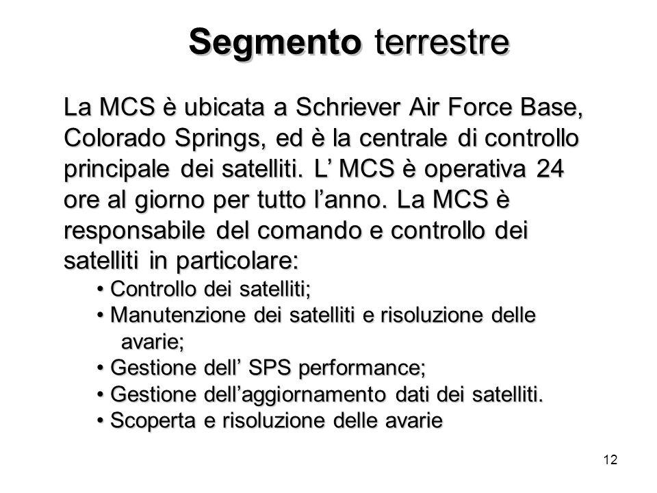 12 Segmento terrestre La MCS è ubicata a Schriever Air Force Base, Colorado Springs, ed è la centrale di controllo principale dei satelliti. L MCS è o