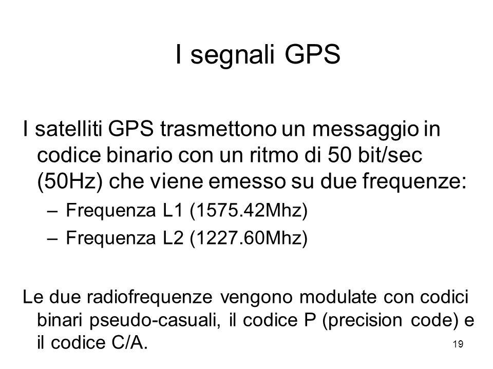 19 I segnali GPS I satelliti GPS trasmettono un messaggio in codice binario con un ritmo di 50 bit/sec (50Hz) che viene emesso su due frequenze: –Freq