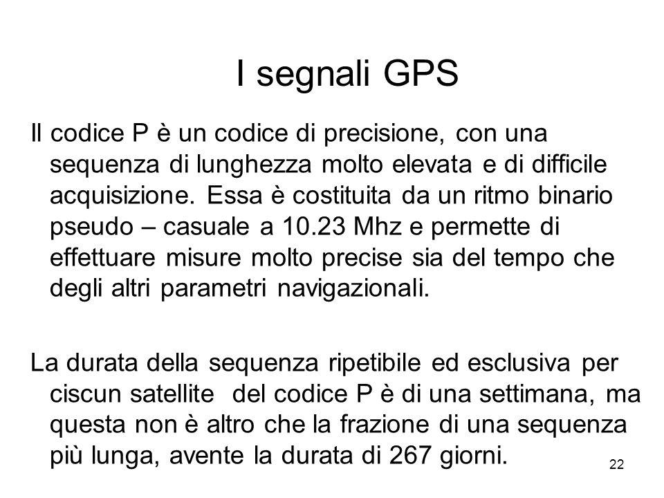22 I segnali GPS Il codice P è un codice di precisione, con una sequenza di lunghezza molto elevata e di difficile acquisizione. Essa è costituita da