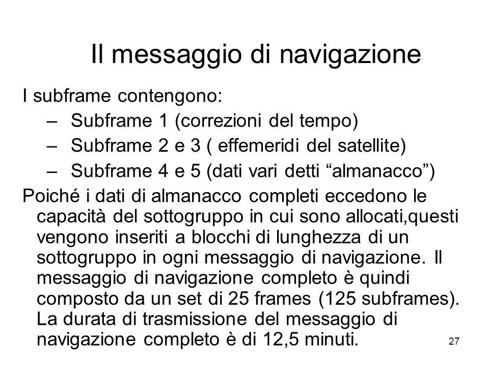 27 Il messaggio di navigazione I subframe contengono: –Subframe 1 (correzioni del tempo) –Subframe 2 e 3 ( effemeridi del satellite) –Subframe 4 e 5 (