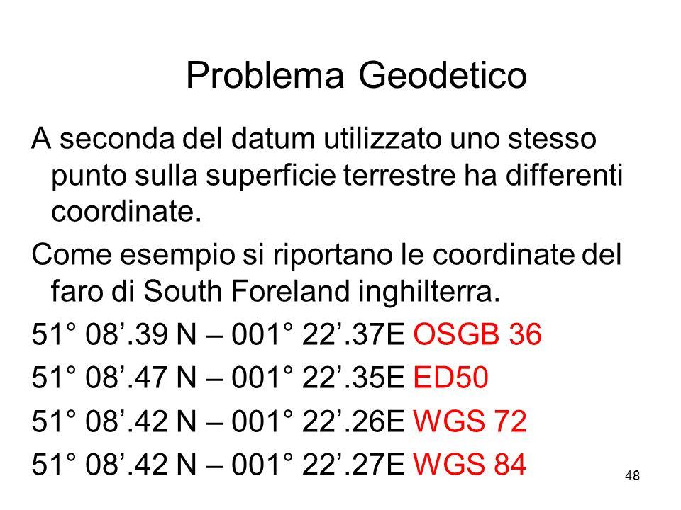 48 Problema Geodetico A seconda del datum utilizzato uno stesso punto sulla superficie terrestre ha differenti coordinate. Come esempio si riportano l