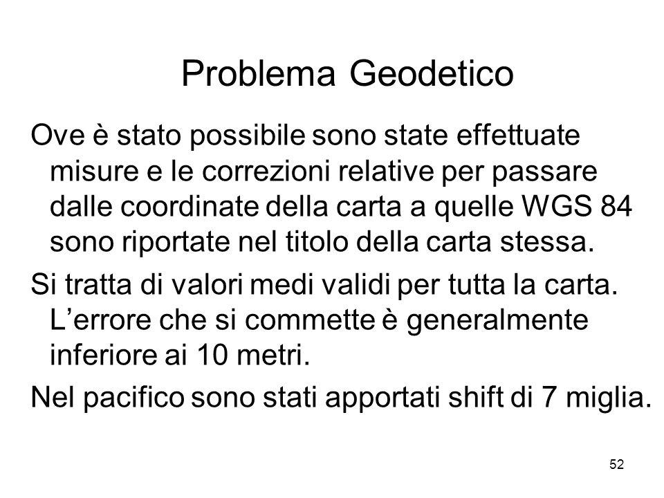 52 Problema Geodetico Ove è stato possibile sono state effettuate misure e le correzioni relative per passare dalle coordinate della carta a quelle WG