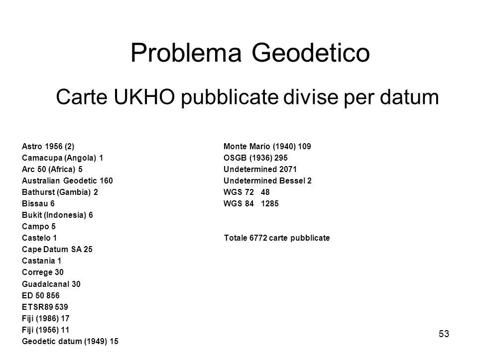 53 Problema Geodetico Carte UKHO pubblicate divise per datum Astro 1956 (2)Monte Mario (1940) 109 Camacupa (Angola) 1OSGB (1936) 295 Arc 50 (Africa) 5