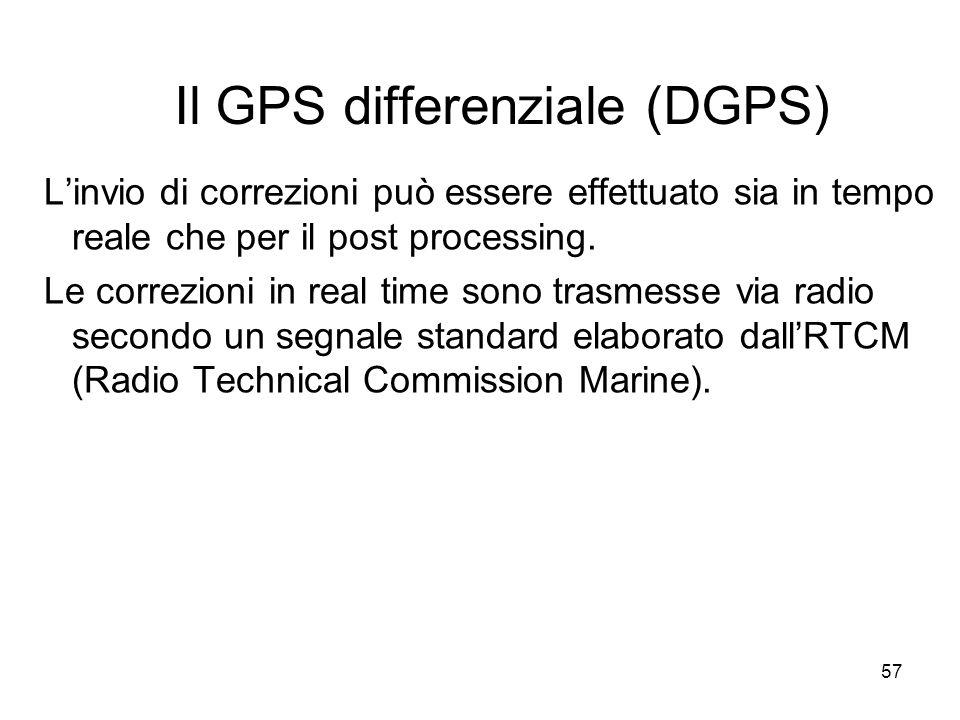 57 Il GPS differenziale (DGPS) Linvio di correzioni può essere effettuato sia in tempo reale che per il post processing. Le correzioni in real time so