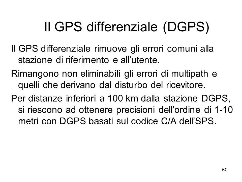 60 Il GPS differenziale (DGPS) Il GPS differenziale rimuove gli errori comuni alla stazione di riferimento e allutente. Rimangono non eliminabili gli