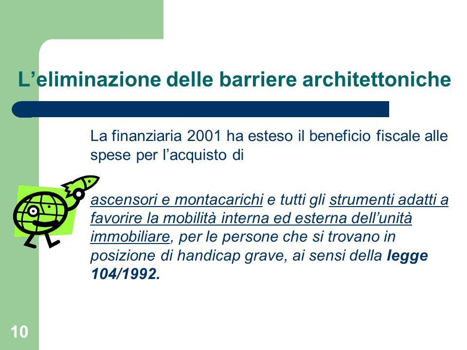 10 La finanziaria 2001 ha esteso il beneficio fiscale alle spese per lacquisto di ascensori e montacarichi e tutti gli strumenti adatti a favorire la