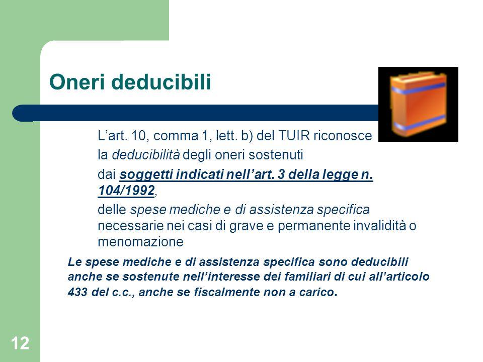 12 Oneri deducibili Lart. 10, comma 1, lett. b) del TUIR riconosce la deducibilità degli oneri sostenuti dai soggetti indicati nellart. 3 della legge