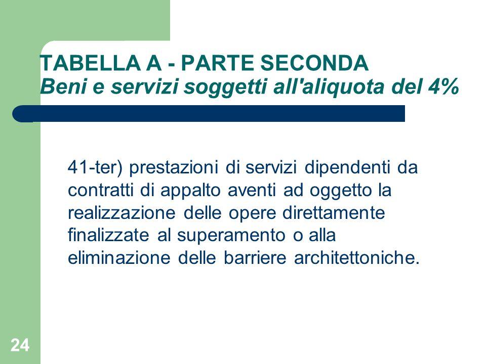 24 TABELLA A - PARTE SECONDA Beni e servizi soggetti all'aliquota del 4% 41-ter) prestazioni di servizi dipendenti da contratti di appalto aventi ad o