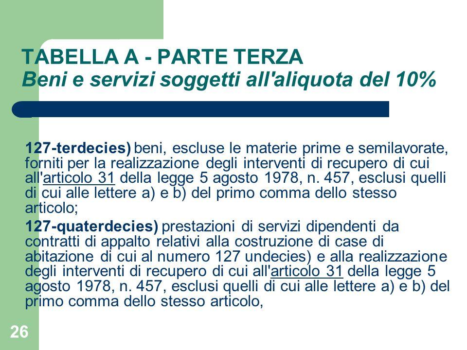 26 TABELLA A - PARTE TERZA Beni e servizi soggetti all'aliquota del 10% 127-terdecies) beni, escluse le materie prime e semilavorate, forniti per la r