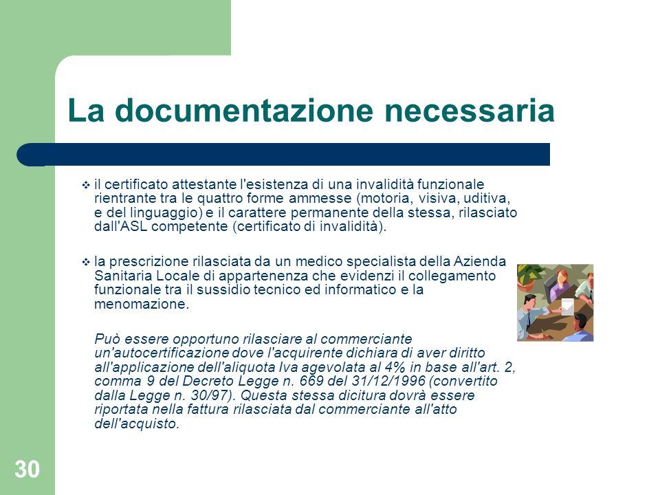 30 La documentazione necessaria il certificato attestante l'esistenza di una invalidità funzionale rientrante tra le quattro forme ammesse (motoria, v