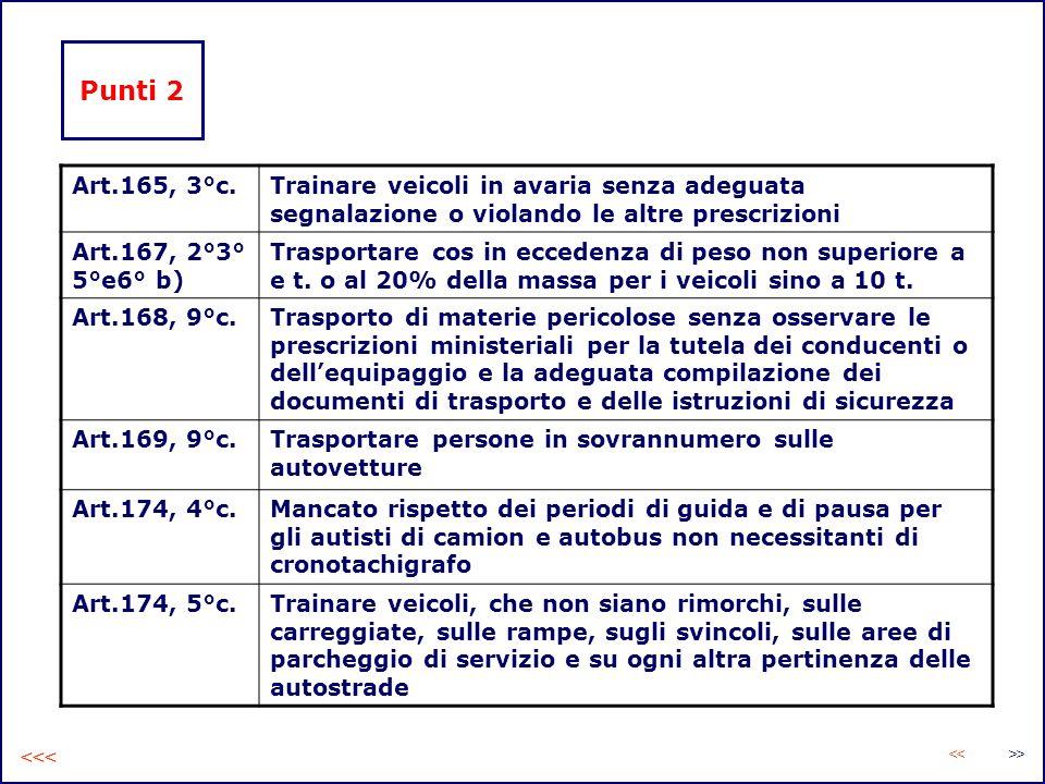 Punti 2 Art.165, 3°c.Trainare veicoli in avaria senza adeguata segnalazione o violando le altre prescrizioni Art.167, 2°3° 5°e6° b) Trasportare cos in