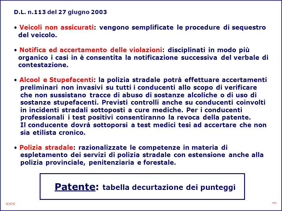 D.L. n.113 del 27 giugno 2003 Veicoli non assicurati: vengono semplificate le procedure di sequestro del veicolo. Notifica ed accertamento delle viola