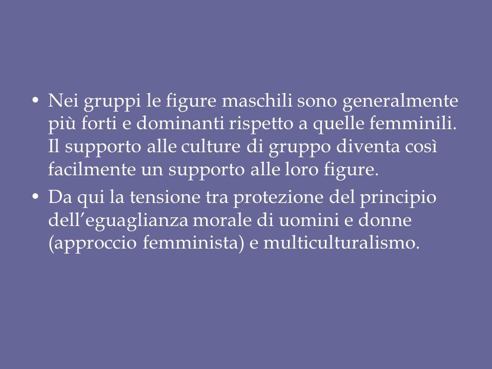 Nei gruppi le figure maschili sono generalmente più forti e dominanti rispetto a quelle femminili.