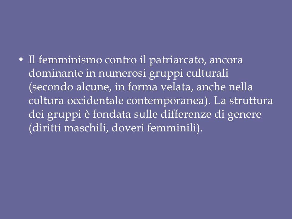 Il femminismo contro il patriarcato, ancora dominante in numerosi gruppi culturali (secondo alcune, in forma velata, anche nella cultura occidentale contemporanea).