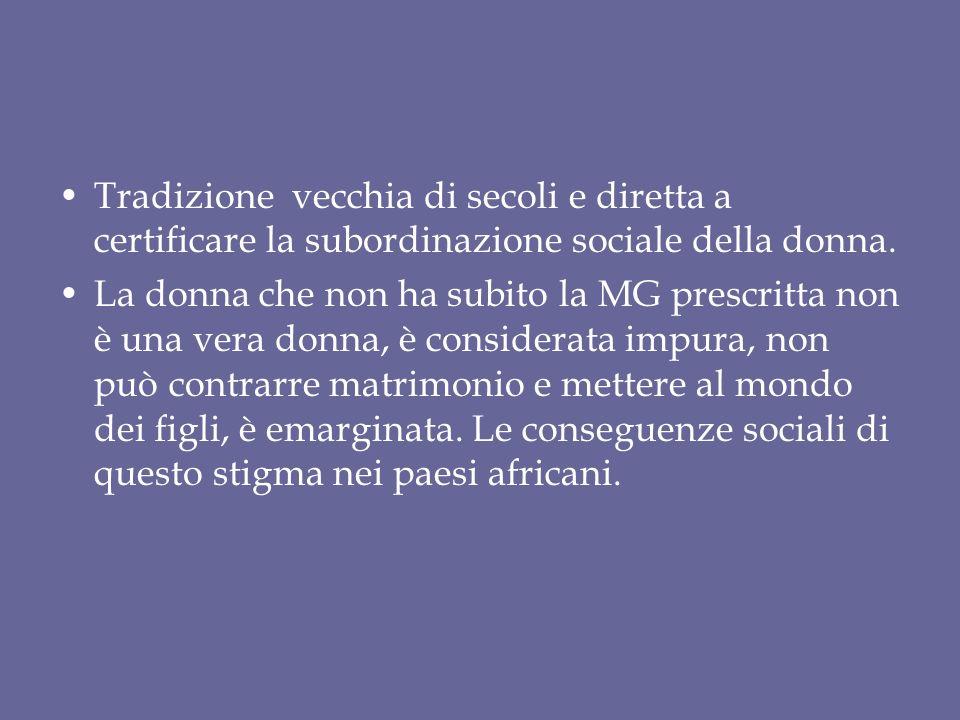 Tradizione vecchia di secoli e diretta a certificare la subordinazione sociale della donna.