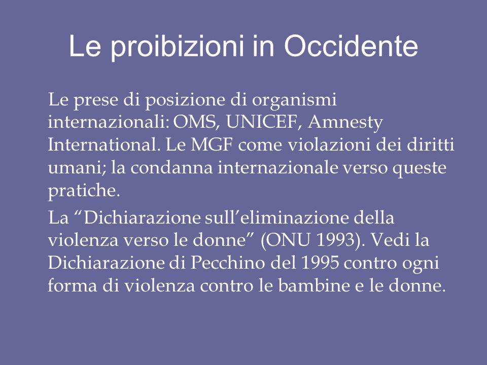 Le proibizioni in Occidente Le prese di posizione di organismi internazionali: OMS, UNICEF, Amnesty International.