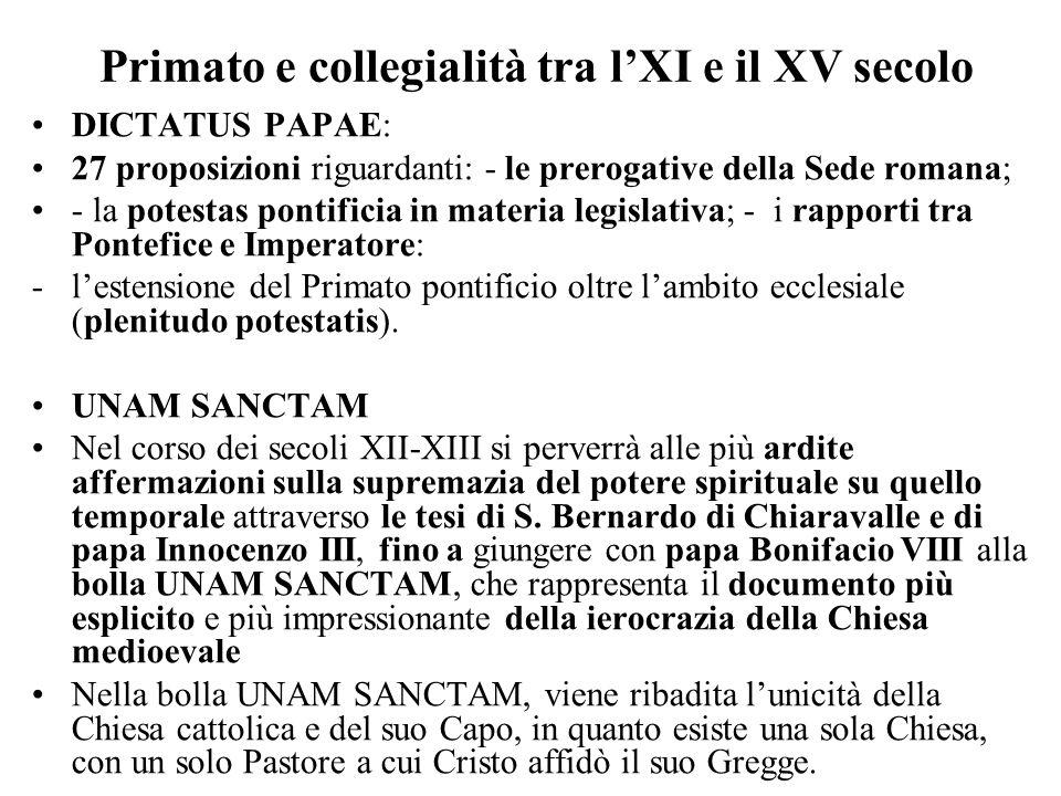 Primato e collegialità tra lXI e il XV secolo DICTATUS PAPAE: 27 proposizioni riguardanti: - le prerogative della Sede romana; - la potestas pontifici