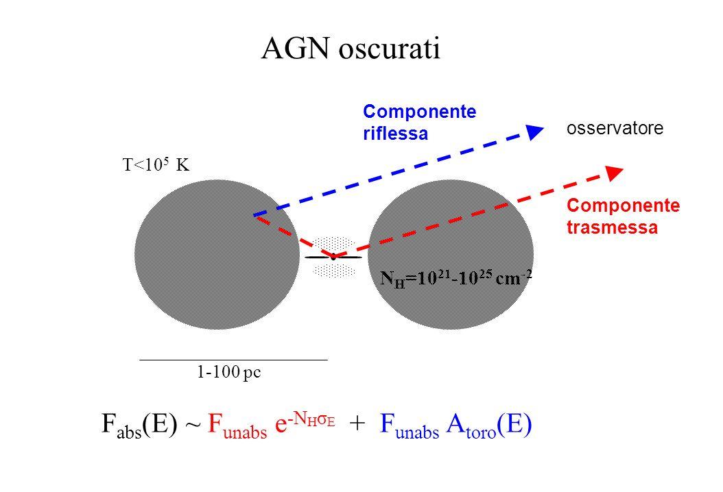 Sezioni durto σTσT Abbondanze cosmiche dei metalli σ E ~ E -2.5 σ T >σ E at E> 10 keV I obs (E)/I int (E) e -τ τ=-N H σ E σ EE -2.5 lemissione nucleare e trasparente alle alte energie Solo H + He σ E = sezione durto per lassorbimento fotoelettrico σ T = sezione durto per lo scattering Thomson N H = densita di colonna di idrogeno equivalente; unita di misura : cm -2 Edge del ferro a 7.1 keV Lassorbimento dei fotoni X e essenzialmente dovuto ai metalli