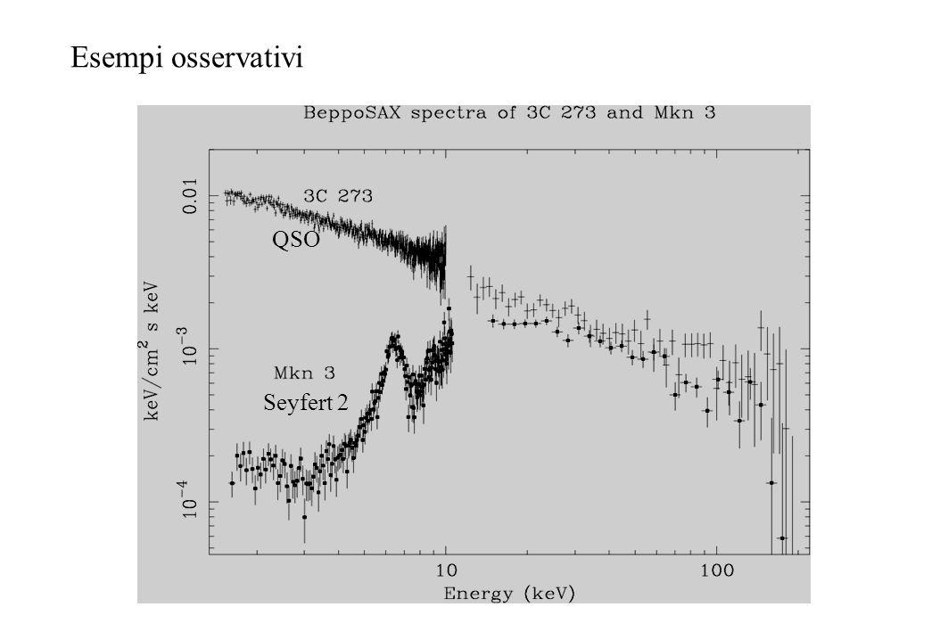 F abs (E) ~ F unabs e -N H σ E + F unabs A toro (E) Spettro non assorbito Spettro assorbito Componente trasmessa Componente riflessa Esempio di spettro Compton-thick con assorbimento logN H =24.5 Componente riflessa Componente trasmessa osservatore