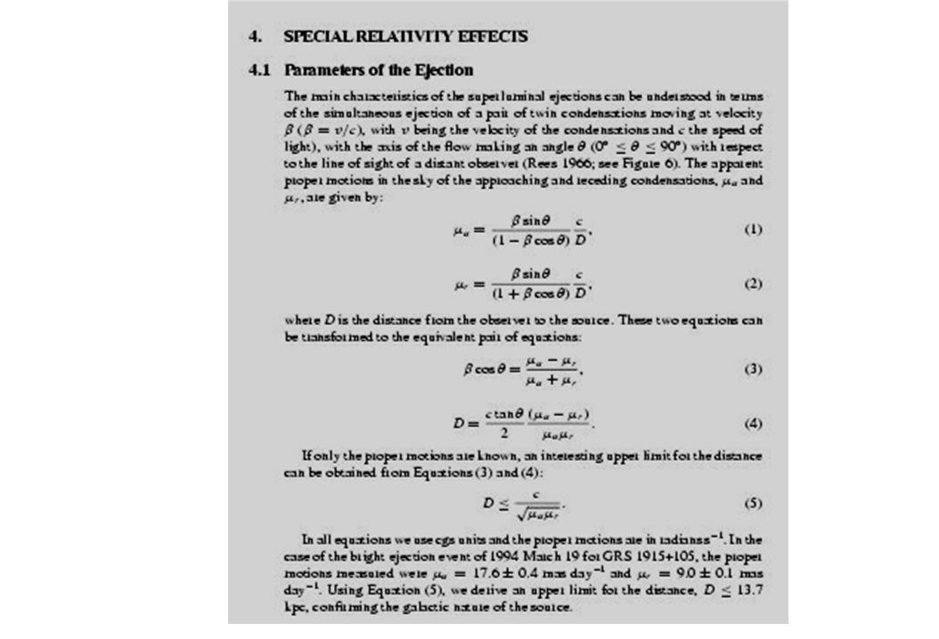 Da studi assorbimento HI risulta D = 12.5 ± 1.5 kpc e diventa V = 0.92c con angolo = 70 gradi se ho D ricavo angolo!!!!.