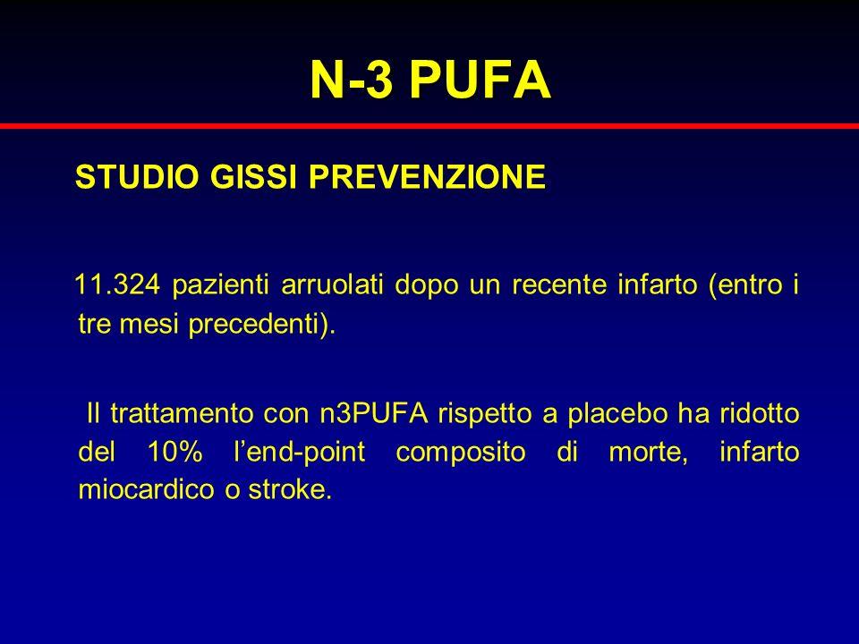N-3 PUFA STUDIO GISSI PREVENZIONE 11.324 pazienti arruolati dopo un recente infarto (entro i tre mesi precedenti). Il trattamento con n3PUFA rispetto