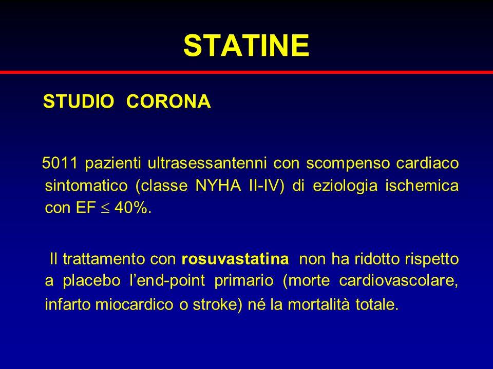 STATINE STUDIO CORONA 5011 pazienti ultrasessantenni con scompenso cardiaco sintomatico (classe NYHA II-IV) di eziologia ischemica con EF 40%. Il trat