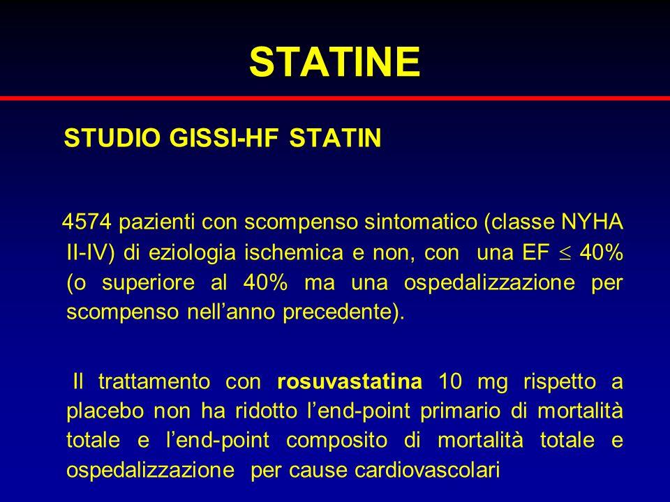 STATINE STUDIO GISSI-HF STATIN 4574 pazienti con scompenso sintomatico (classe NYHA II-IV) di eziologia ischemica e non, con una EF 40% (o superiore a