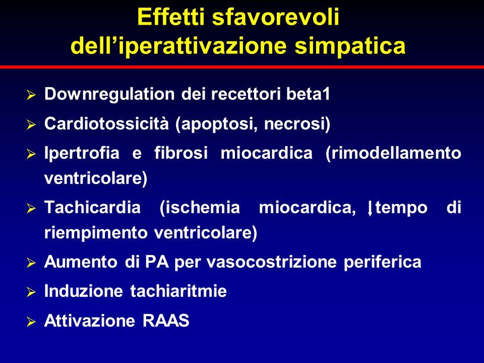 Effetti sfavorevoli delliperattivazione simpatica Downregulation dei recettori beta1 Cardiotossicità (apoptosi, necrosi) Ipertrofia e fibrosi miocardi