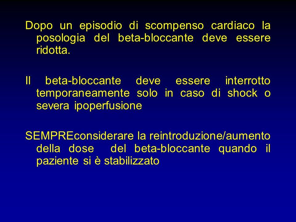 Dopo un episodio di scompenso cardiaco la posologia del beta-bloccante deve essere ridotta. Il beta-bloccante deve essere interrotto temporaneamente s