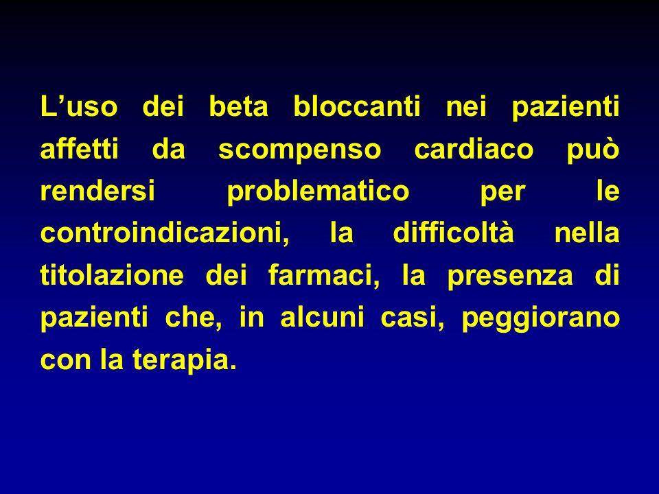 Luso dei beta bloccanti nei pazienti affetti da scompenso cardiaco può rendersi problematico per le controindicazioni, la difficoltà nella titolazione