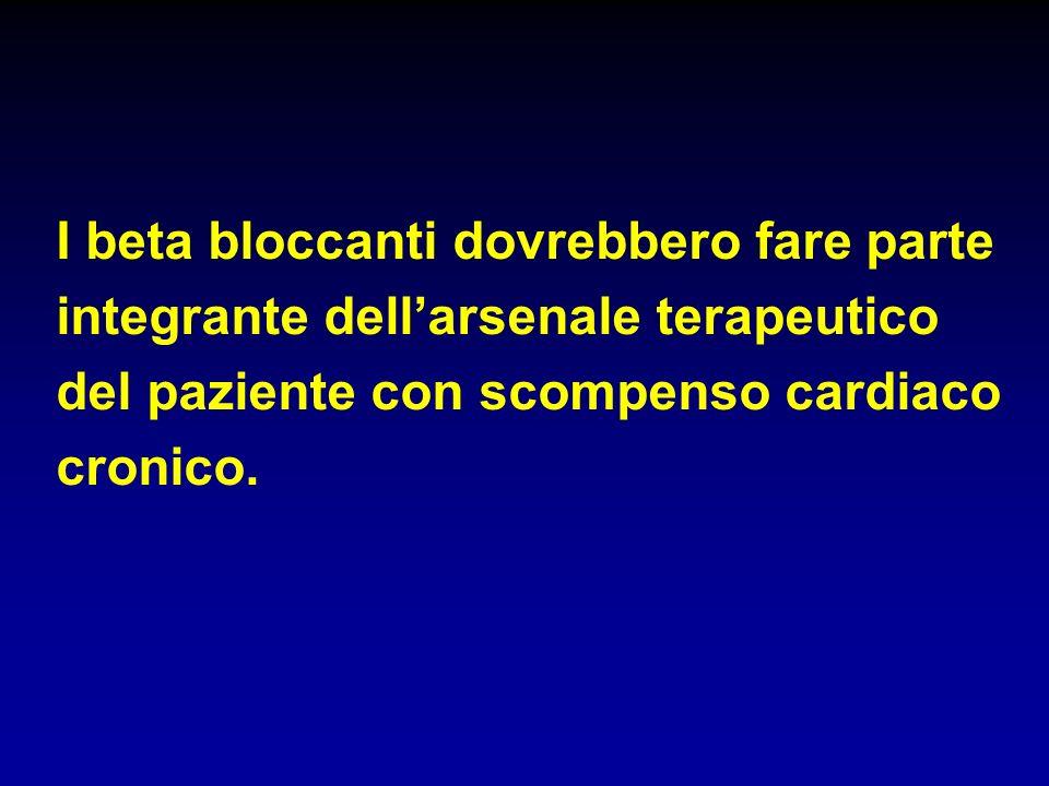 I beta bloccanti dovrebbero fare parte integrante dellarsenale terapeutico del paziente con scompenso cardiaco cronico.